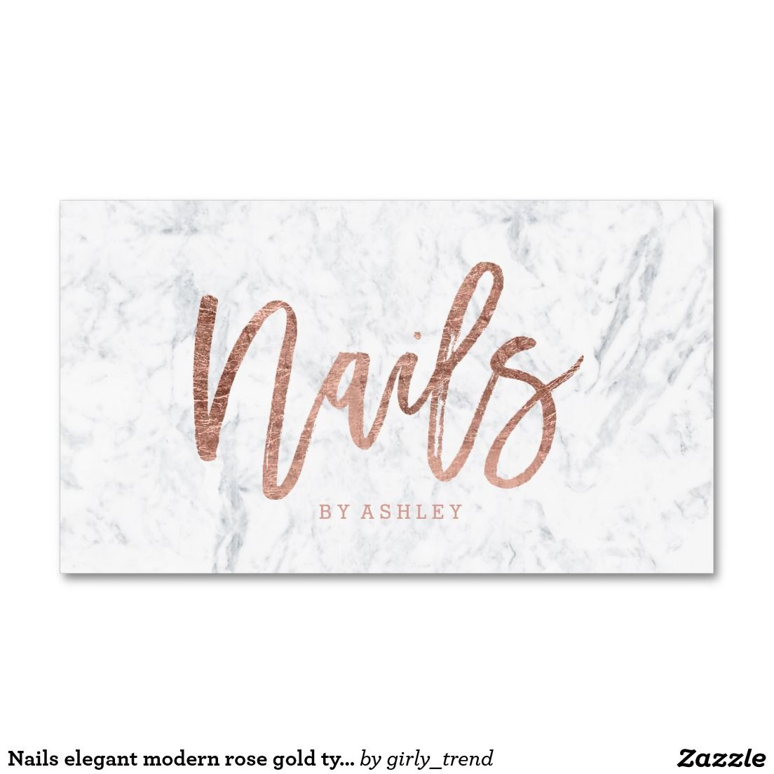 Nails elegant modern rose gold typography marble business card ...