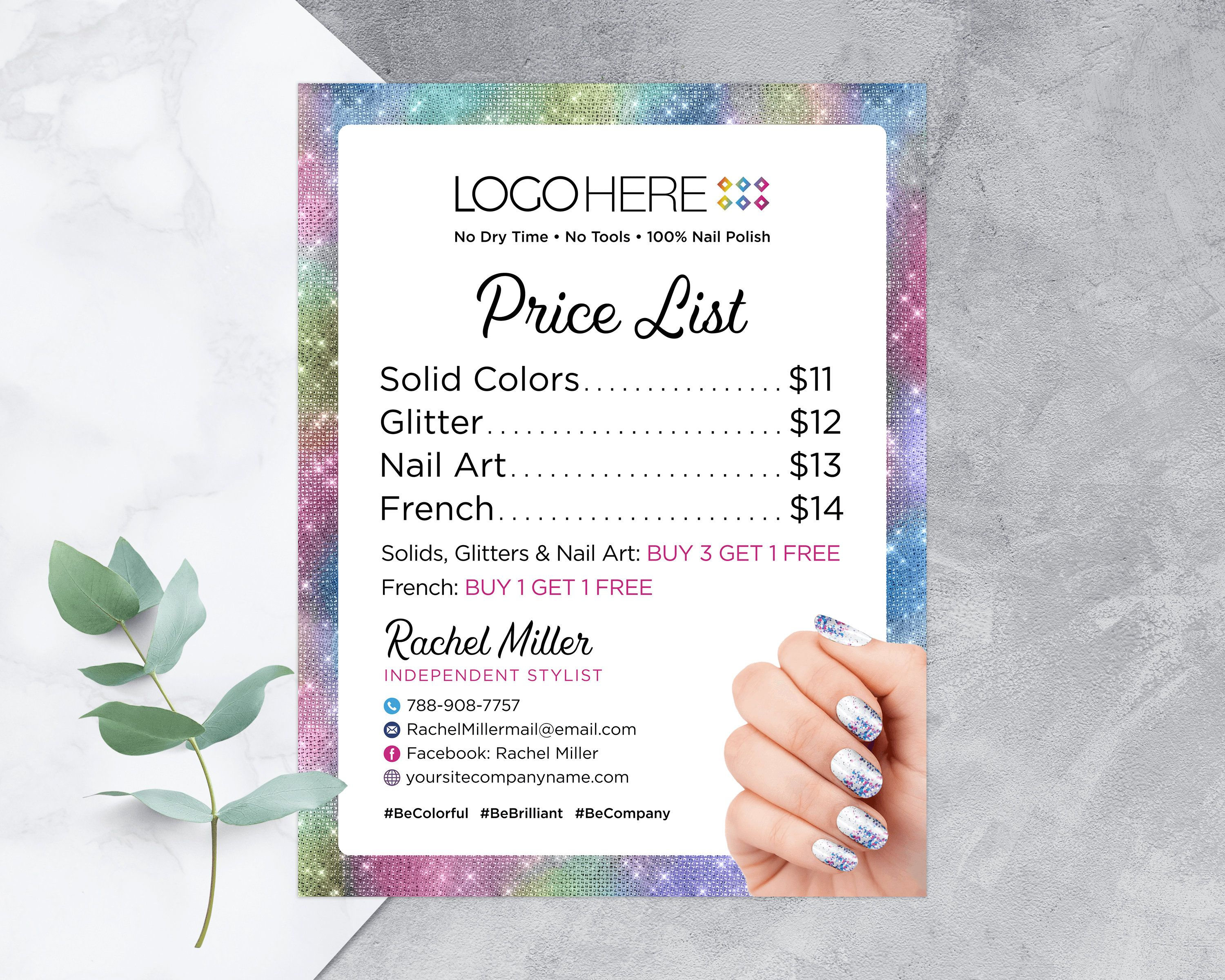 Nail Price List Printable Street Price List Color Pricing Etsy In 2021 Nail Prices Striped Business Card Personal Cards