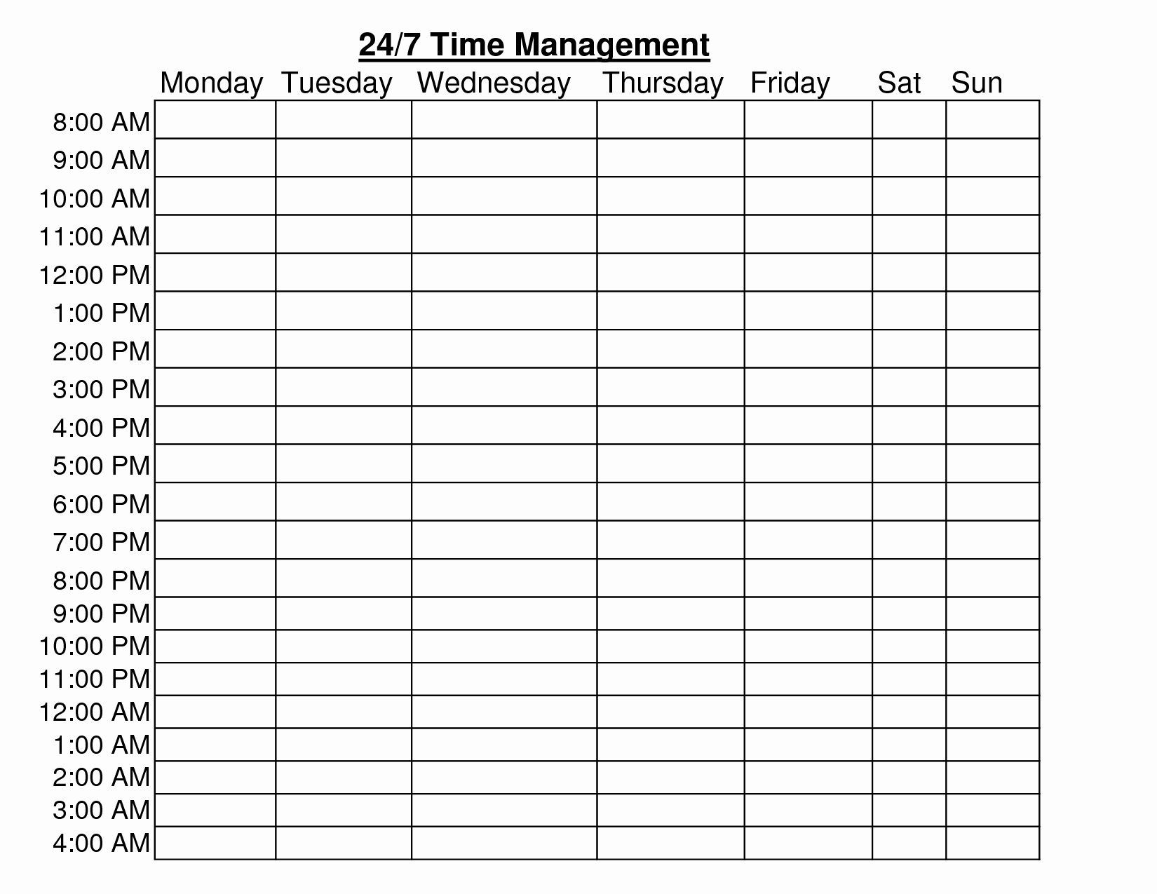 24 7 Calendar Template Schedule Template Time Management Worksheet Weekly Schedule Template Excel