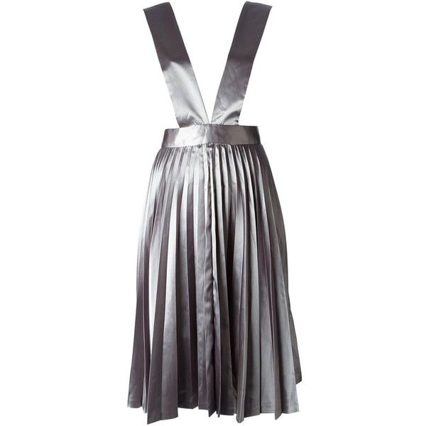 Comme Des Garçons Vintage 'Tricot CDG' skirt ($1,060) ❤ liked on Polyvore featuring skirts, grey, gray skirt, knee high skirts, pleated skirt, vintage pleated skirt and knee length skirts