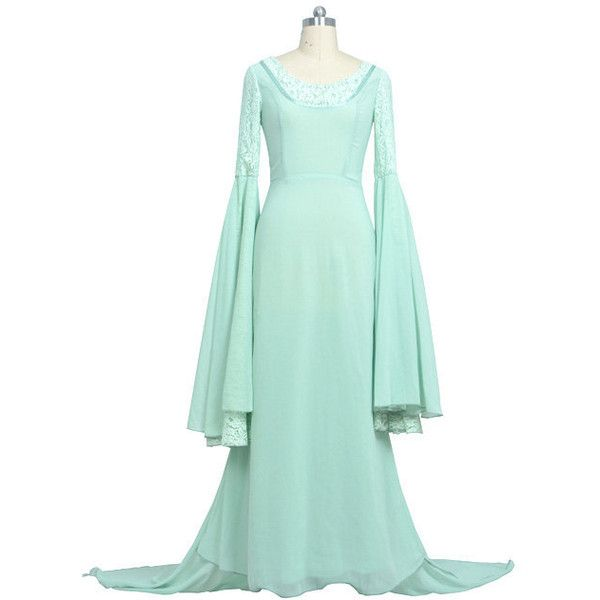 Der Herr der Ringe Arwens Kleid Prinzessin Cosplay Cosplay Kostüme (620 DKK) ❤ liked on Polyvore featuring costumes, cosplay costumes, cosplay halloween costumes, green halloween costumes, role play costumes and green costumes