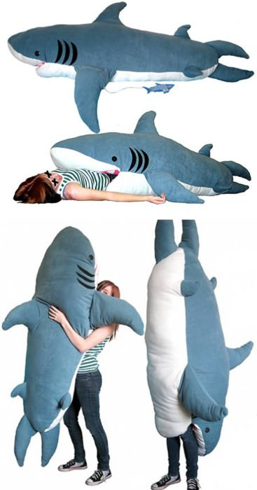 Shark Pillow That Eats You shark pillow! the boys would love this!!! | sharks | pinterest
