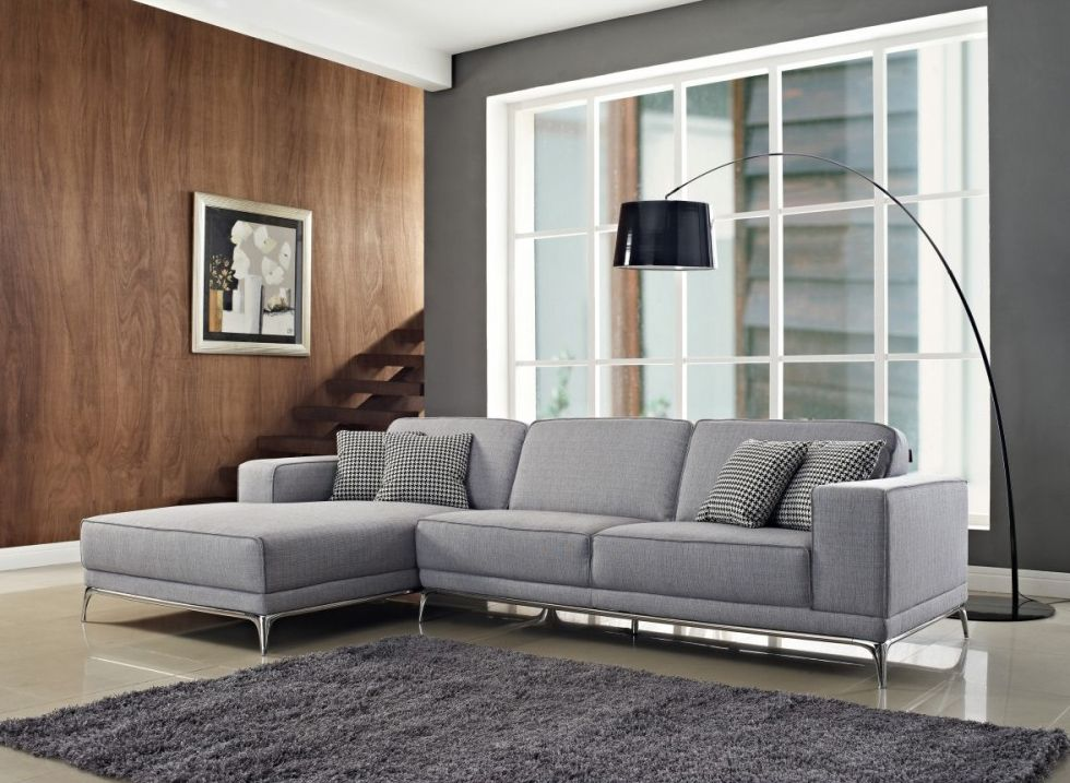 Agata Sectional Sofa In Light Grey By