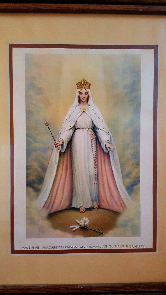 Vintage Mary Queen Of The Universe Picture Wooden Frame Etsy Blessed Mother Mary Queen Of Heaven Mother Mary