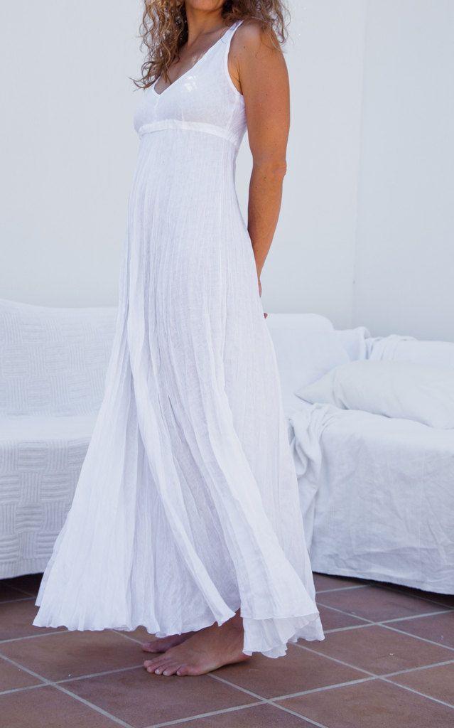 Pure White Long Crinkled Linen Dress 79 00 Via Etsy