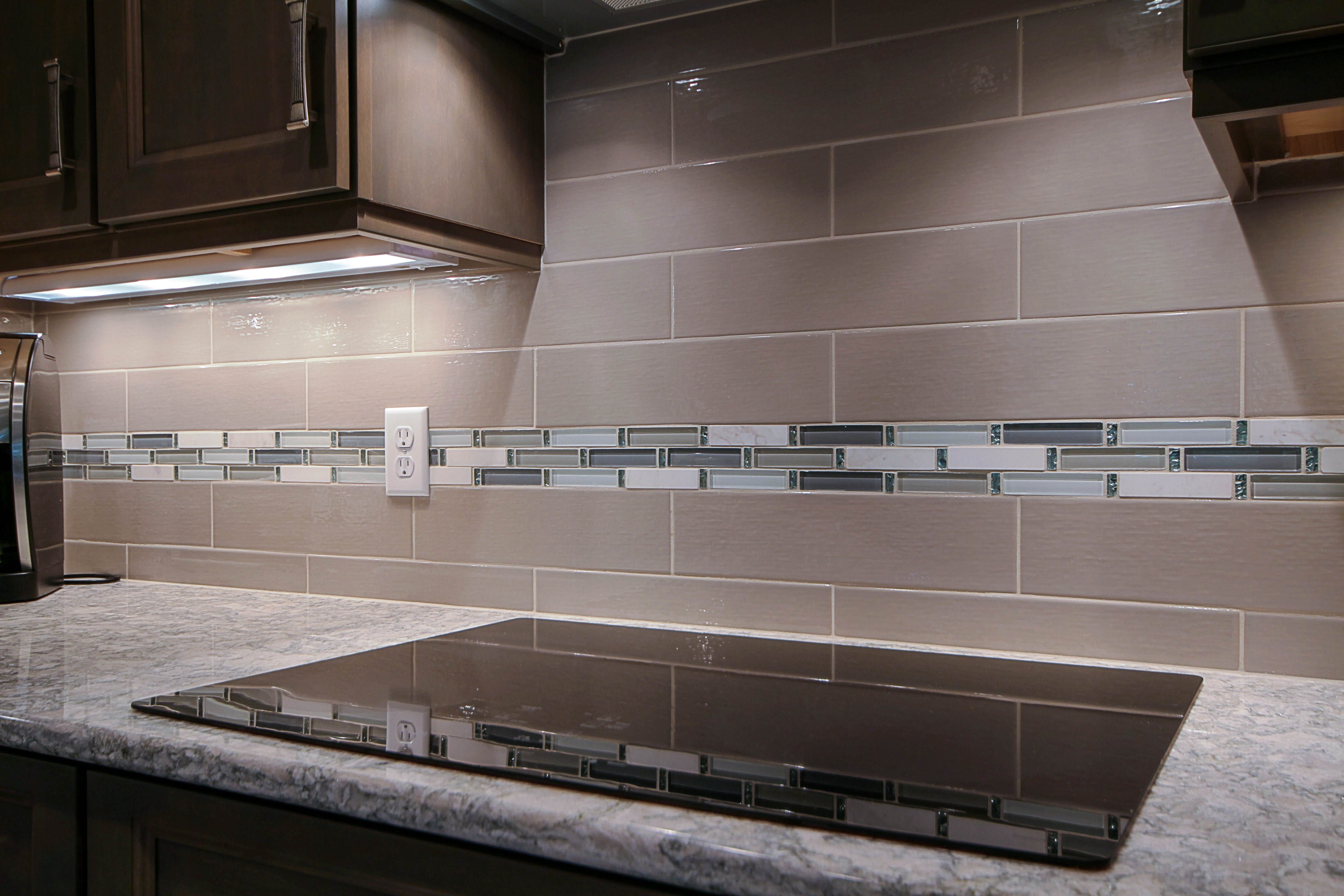 Taupe Subway Tile With Gl Accent Mosaic Kitchens In
