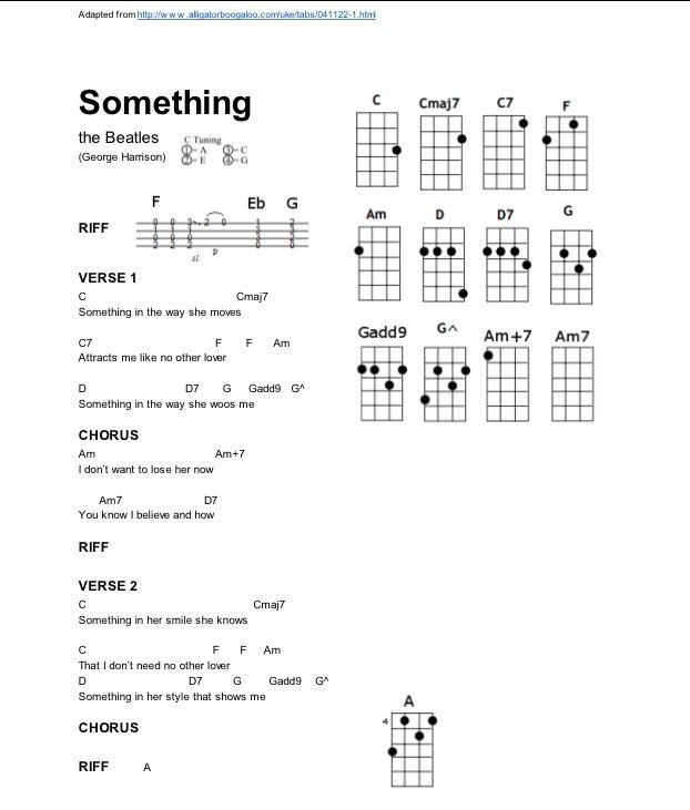 Something Ukelele Chords Ukulele Song Chords Pinterest