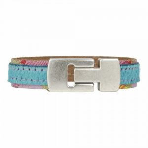 €17,95 Ibiza summer style fashion leather bracelet magnetic claps lock old silver with faux fur animal print!