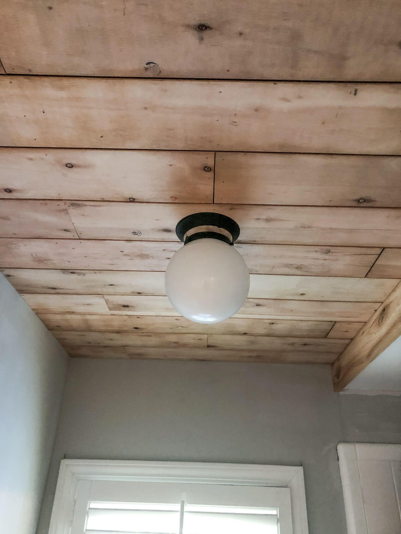 Diy Ceiling Planks From Laminate Flooring In 2020 Diy Ceiling Shower Ceilings Waterproof Laminate Flooring