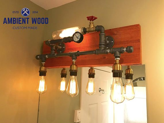 Pipe wood panel Industrial Bathroom Vanity Light Fixture Bar Light ...