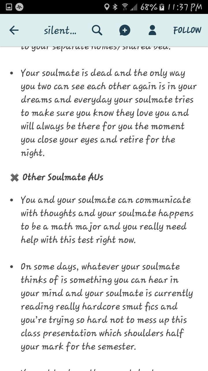 Soulmate AU - La dernière est très intéressante | Writing, writing