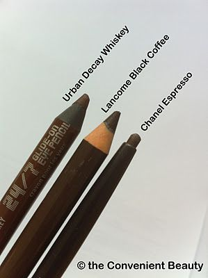 The Convenient Beauty: My go-to brown eyeliners - Chanel Espresso, Lancome Black Coffee, Urban Decay 24/7 Whiskey