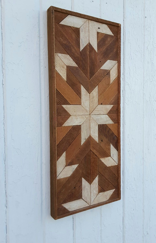 Reclaimed wood wall art decor lath art geometric mosaic rustic