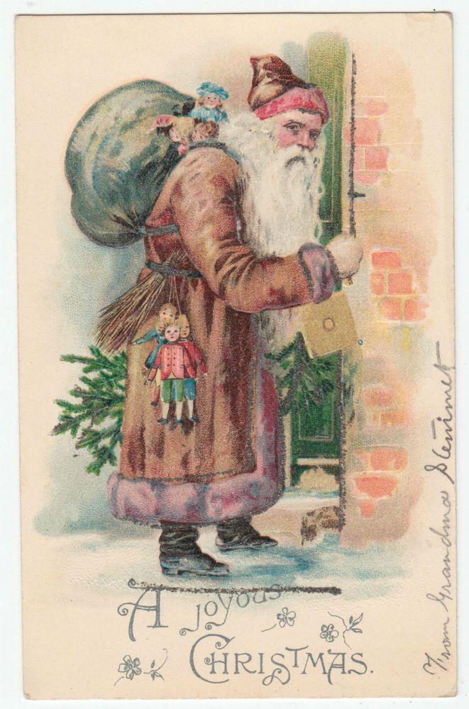 Santa Claus Brown Robe Christmas Postcard BW 291 Toys Dolls Germany ...
