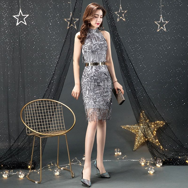 Sexy Silver Sequin Cocktail Dress 2019 Halter Spaghetti Strap Midi Silver Cocktail Dress Bodycon Backless Sexy Cocktail Dresses #backlesscocktaildress