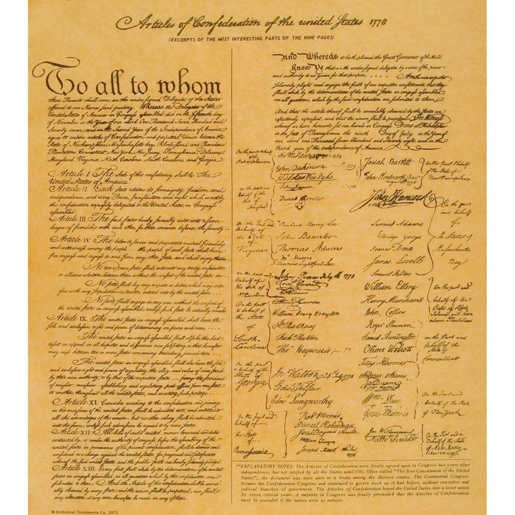 Articles Of Confederation Of The United States