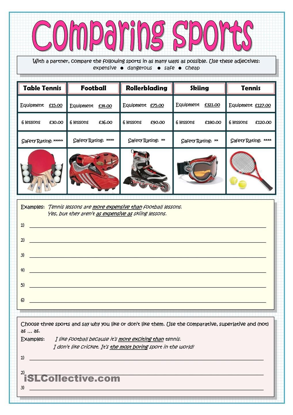 comparing sports comparatives and superlatives pinterest sports printables and student. Black Bedroom Furniture Sets. Home Design Ideas