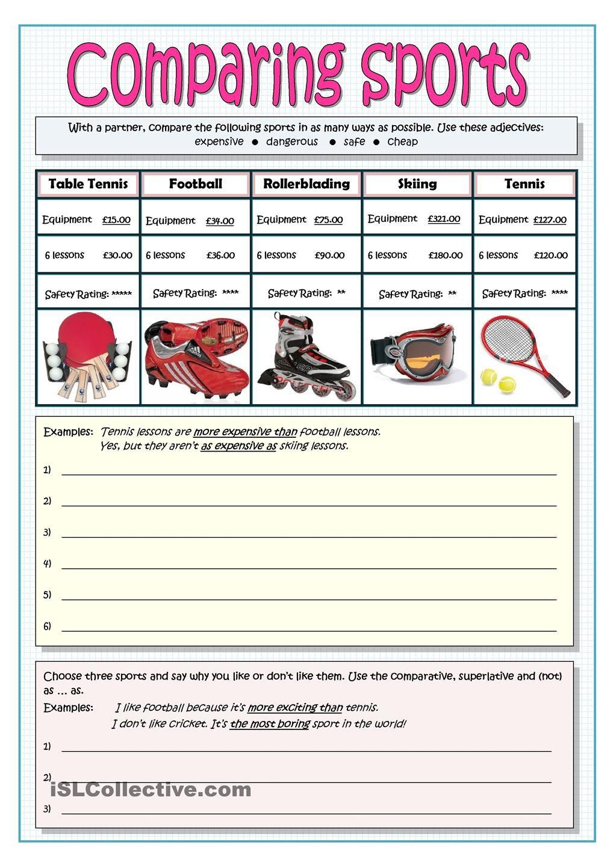 comparing sports comparatives and superlatives grammar worksheets english grammar english. Black Bedroom Furniture Sets. Home Design Ideas