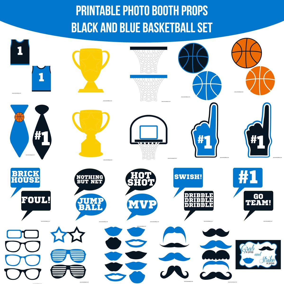 instant download basketball black blue printable photo booth prop
