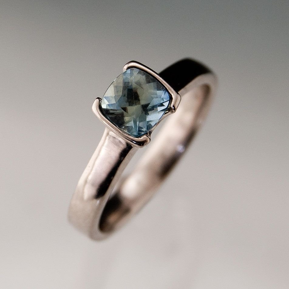 blue green sapphire engagement ring cushion cut half bezel solitaire in