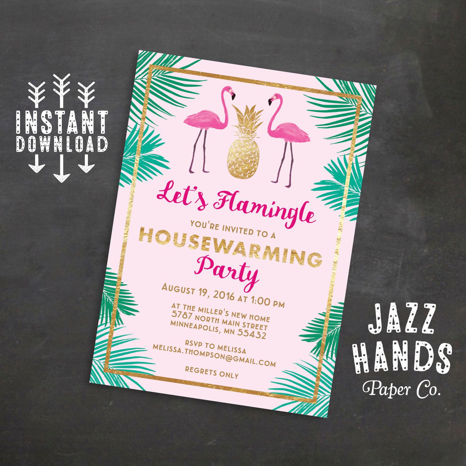LetS Flamingle Printable Housewarming Invitation Template