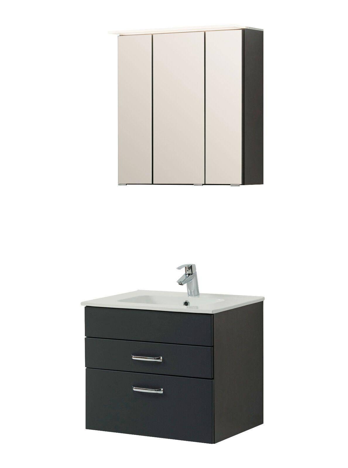 Badezimmer Waschtisch Set Fontana Waschplatz Led Spiegelschrank 60 Cm Anthrazit Badezimmermobel Ideen Von Badezimmerm In 2020 Bathroom Vanity Vanity Single Vanity