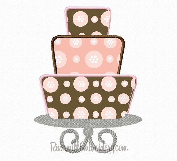 Three Tiered Cake On Stand Applique Machine Embroidery