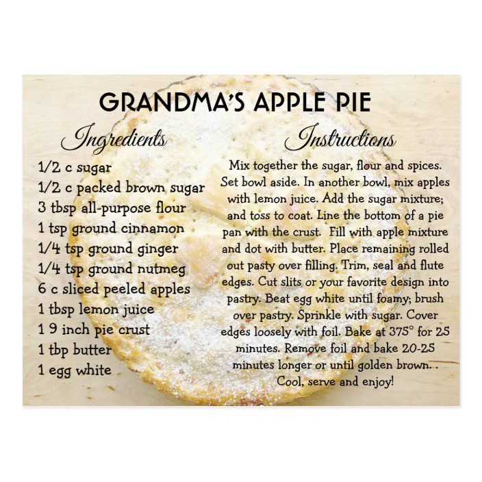 Grandma's Apple Pie Day Recipe Card | Zazzle.com