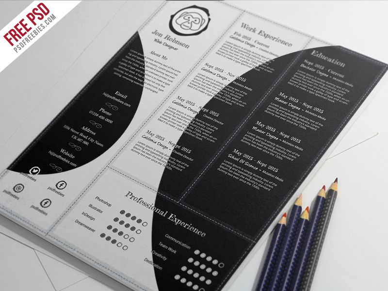 Freebie Creative And Professional Resume Free Psd