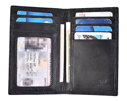 Black Mens LEATHER Bifold Wallet ID Credit Card Holder Front Pocket