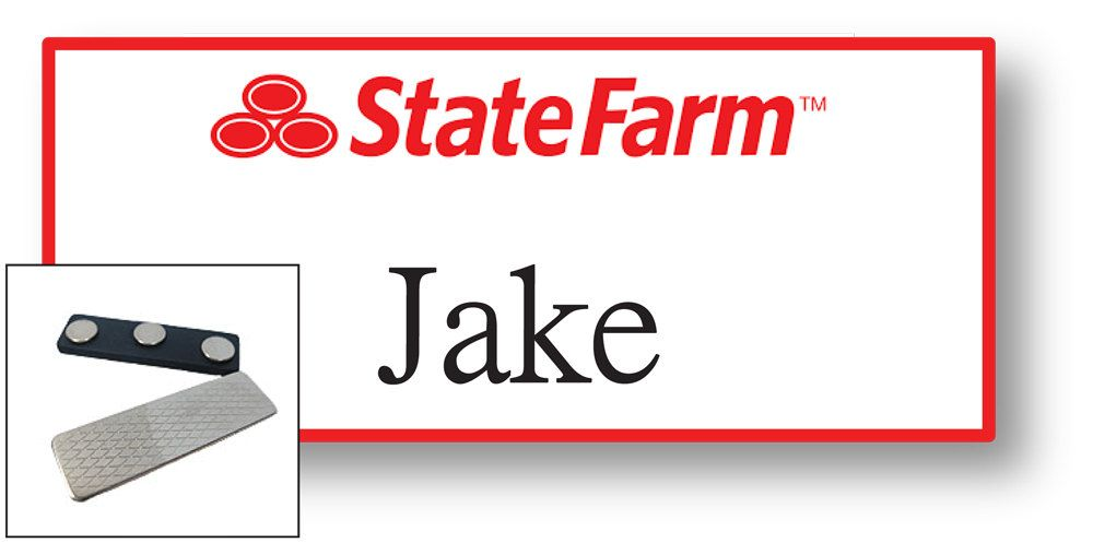 1 Jake From State Farm Halloween Costume Name Badge Tag With A Magnet Fastener Ships Free By Badgelady Jake From State Farm Name Badges Halloween Costume Names