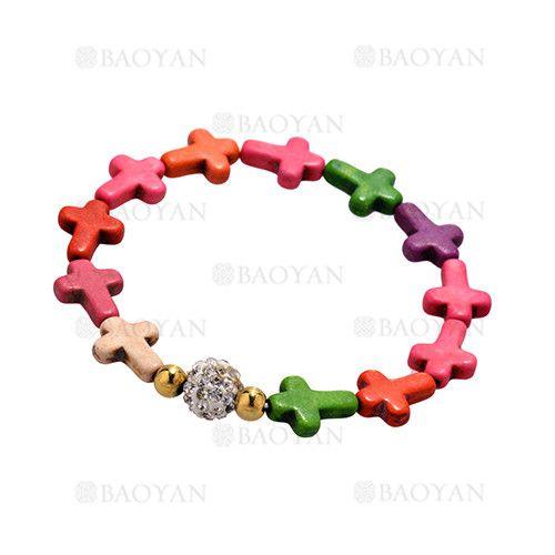 pulsera de santa cruz multicolores con bola brillo y dorado acero para mujer -SSBTG924386