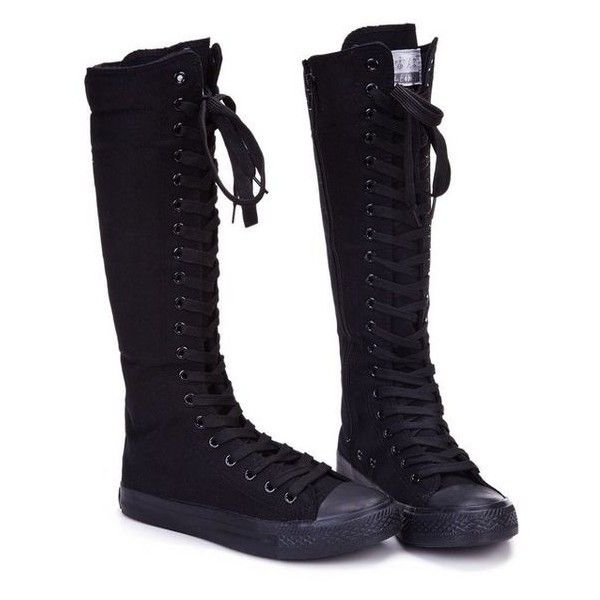 1f8bc066f3d644 Leinier Womens Dancing Punk Knee High Canvas Boot found on Polyvore... ❤  liked on Polyvore featuring shoes