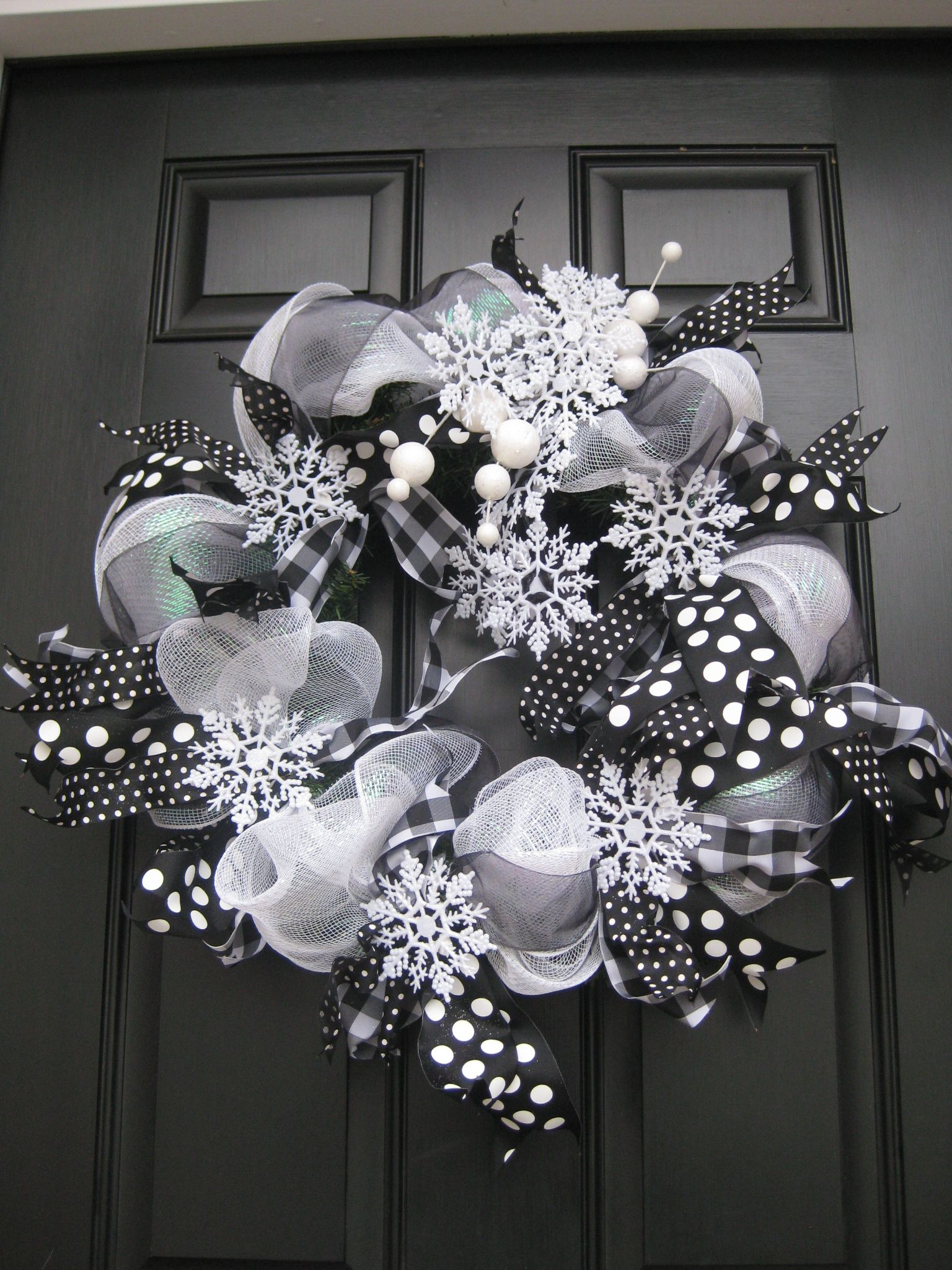 black and white deco mesh wreaths - Bing Images