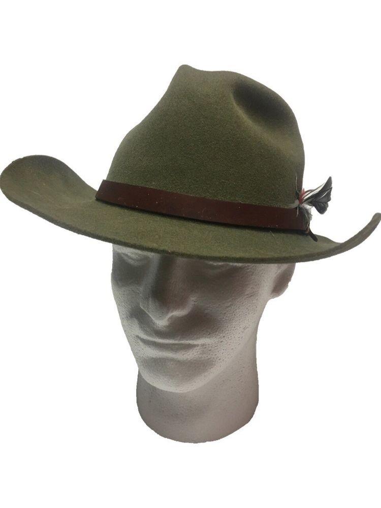 Vintage Mens Stetson Pony Express Brown Wool Western Cowboy Hat Size 7 1 4   f39fe6b2fb1