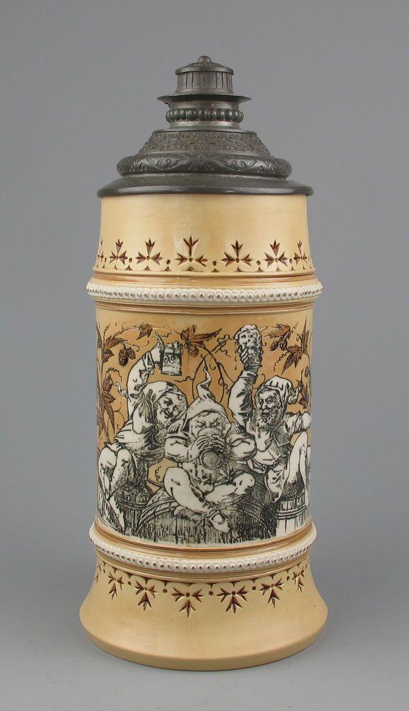 Antique Mettlach beer Stein Dwarves #1053 Signed: Warth - Villeroy & Boch Krug