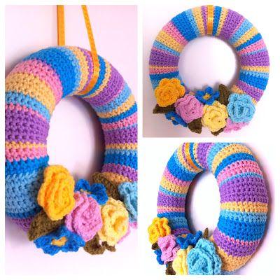with love haken crochet wreath pinterest coronas ponerse y coser. Black Bedroom Furniture Sets. Home Design Ideas