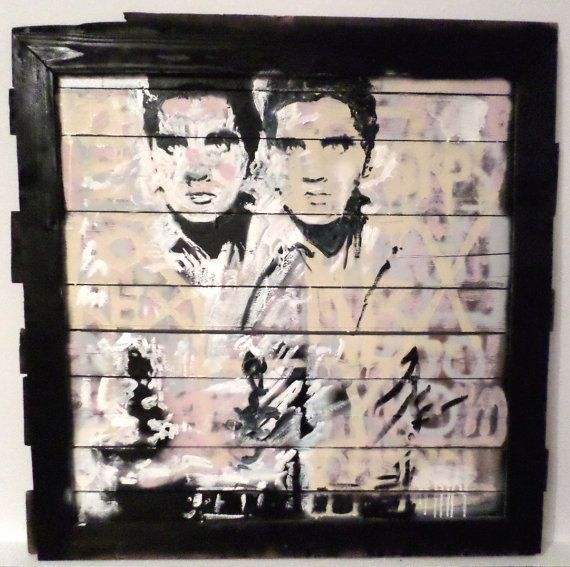 "Wood Wall Art Pallet Art Andy Warhol Inspired Double Elvis ""Demerol Rex"" by Matt Pecson"