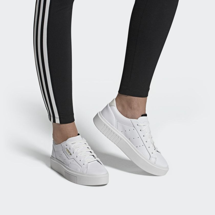 Dental sátira baño  adidas Sleek Super Shoes - White | adidas US | Leather sneakers outfit,  Tenis adidas, Black leather sneakers