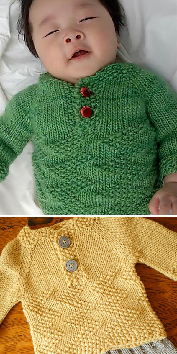 Free Knitting Pattern for Easy Baby Henley Sweater  #babypullover