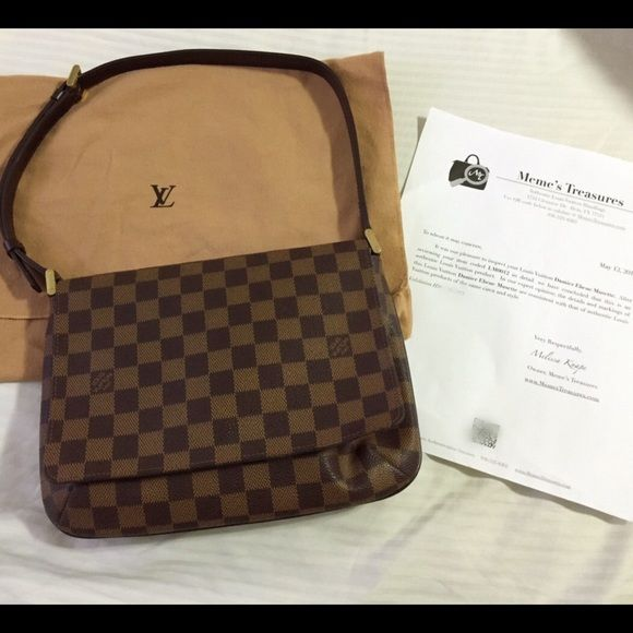 fc57959d8673 Louis Vuitton Musette Tango in Damier Ebene This is a guaranteed authentic Louis  Vuitton Damier Musette Tango Shoulder bag. Comes with a dust bag and a ...
