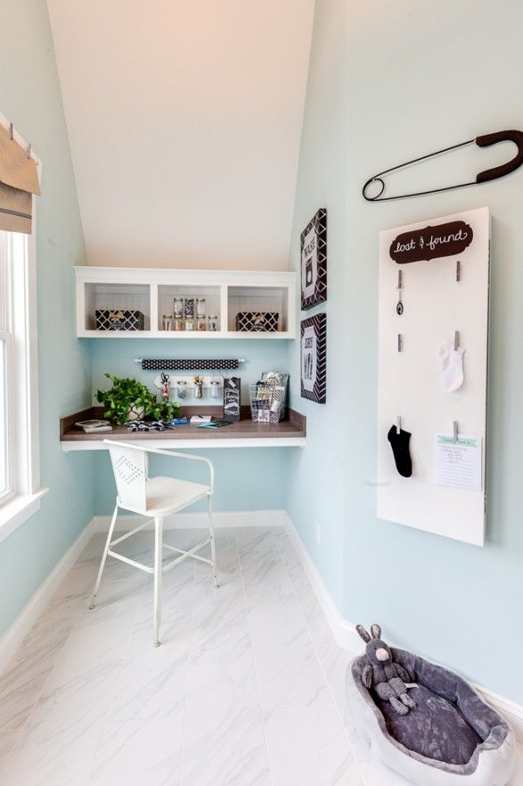 Simple craft nook and wrapping station idea. Click picture for beautiful coastal home tour.
