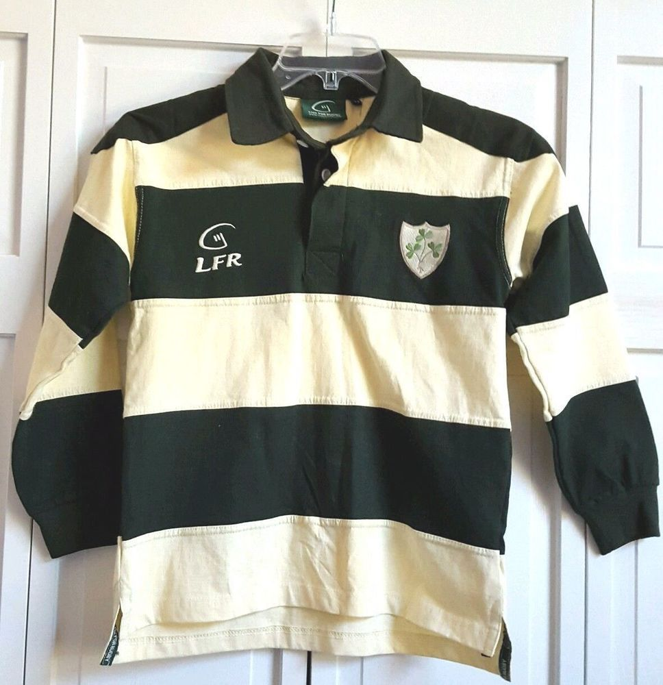Boy S Live For Rugby Shirt Sewn Stripes Ireland Shamrocks Dark Green Yellow Liveforrugby Everyday