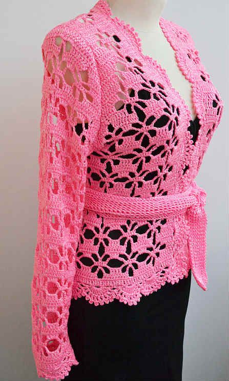 Cómo tejer chaqueta crochet con punto araña calado color rosado paso ...