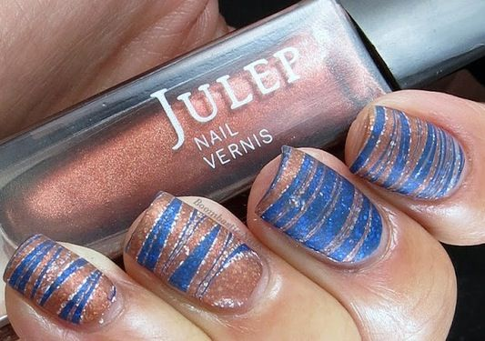 Blue Copper Silver Strips Nail Art Nail Art Pinterest