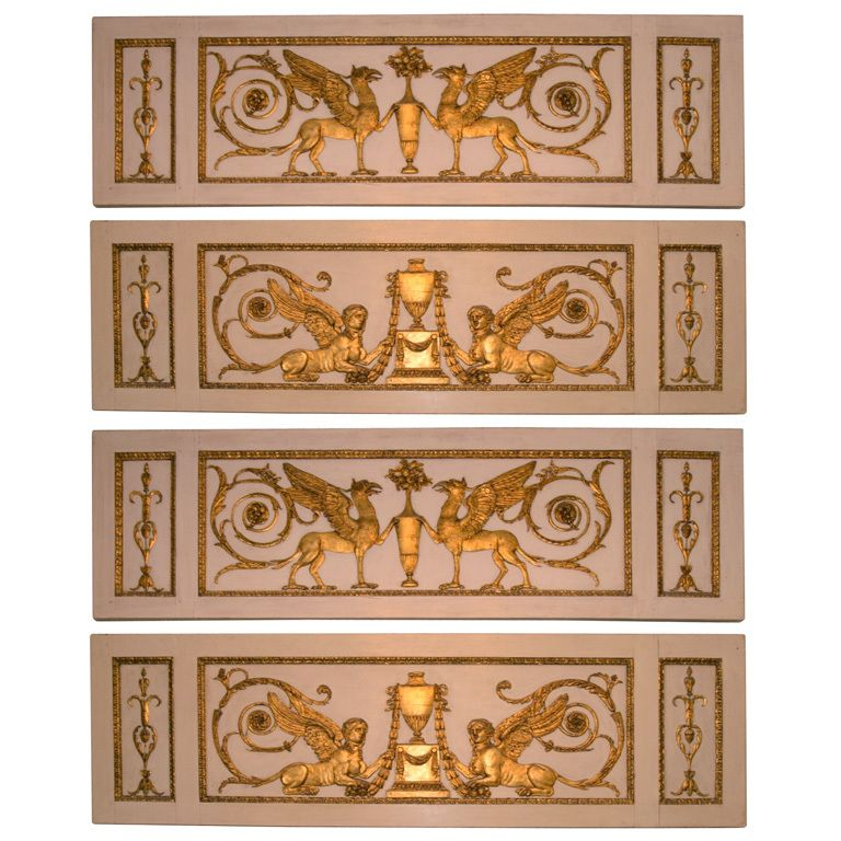 A Series Of 3 French Boiserie Panels With Neoclassical