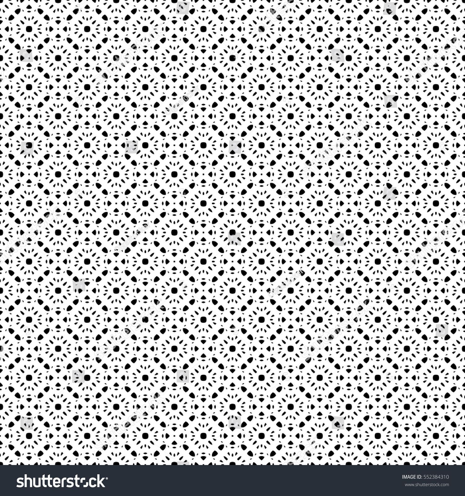 Vector Monochrome Seamless Pattern, Black & White Repeat Ornamental Texture,