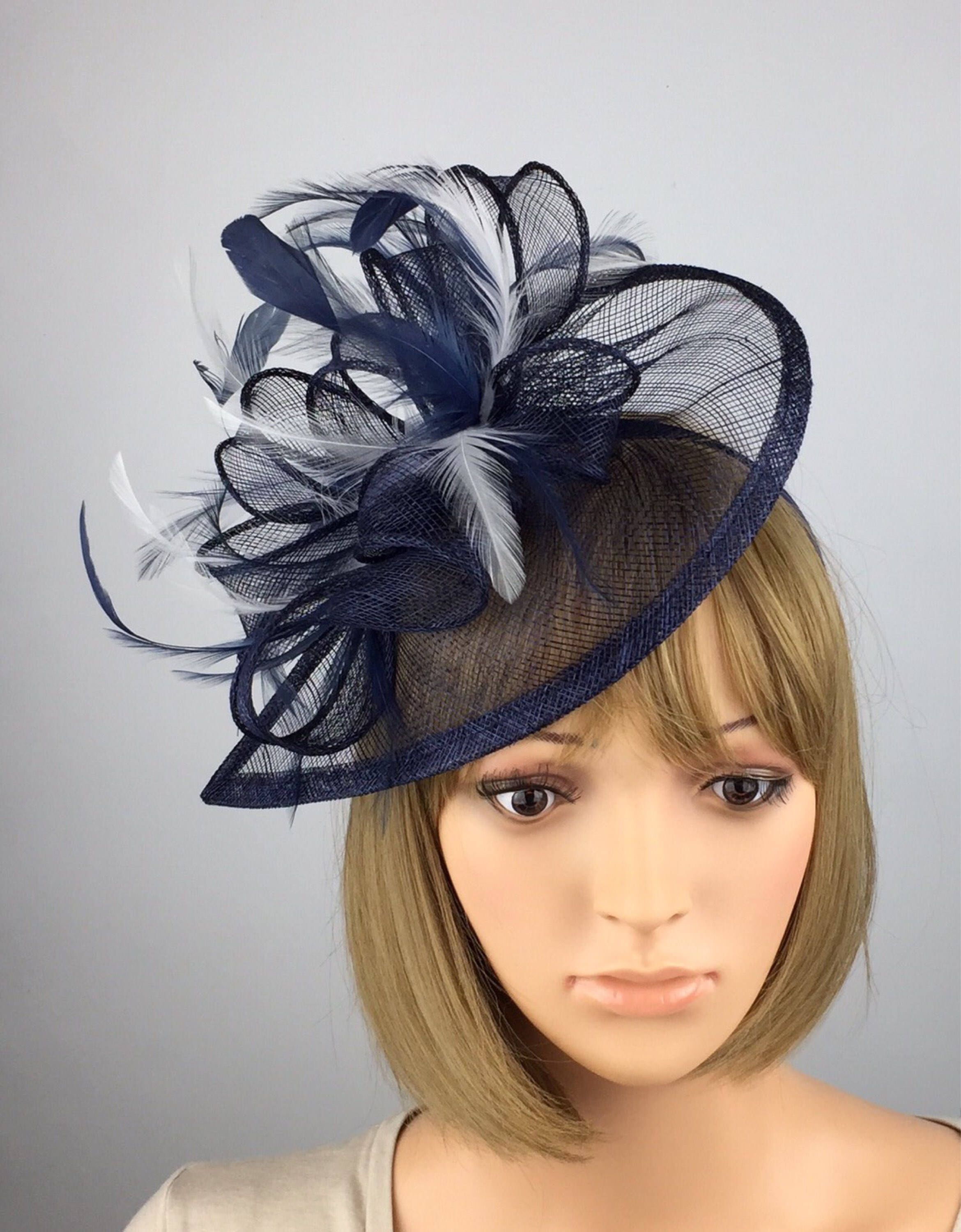 Excited to share the latest addition to my  etsy shop  Dark Blue Navy and white  Fascinator Wedding Mother of the Bride Ladies Day   Ascot Races Occasion ... 1574c7a871b