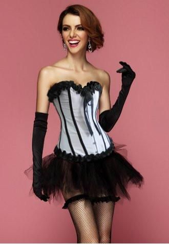 white corset with black tutu skirt  one set in color