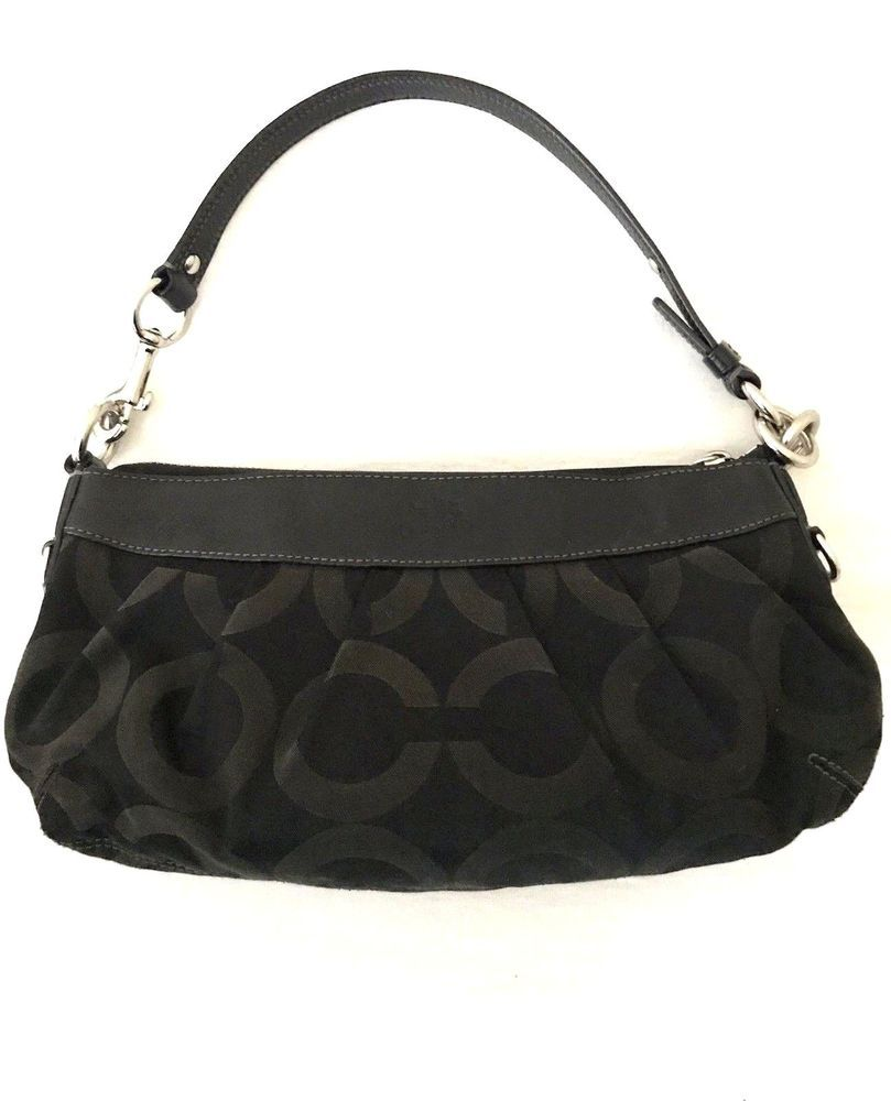 63f060ae Coach Black Madison Op Art Sateen Jacquard Baguette Bag ...